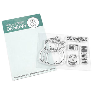 Peekin' Pumpkin Kitty 3x4 Clear Stamp Set