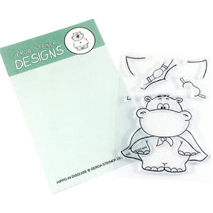 Hippo in Disguise 3x4 Clear Stamp Set