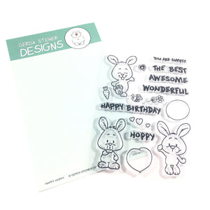 Happy Hoppy 4x6 Bunny Clear Stamp Set - Clearstamps - Clear Stamps - Cardmaking- Ideas- papercrafting- handmade - cards-  Papercrafts - Gerda Steiner Designs
