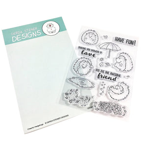 Cheerful Hedgehog 4x6 Clear Stamp Set - Clearstamps - Clear Stamps - Cardmaking- Ideas- papercrafting- handmade - cards-  Papercrafts - Gerda Steiner Designs