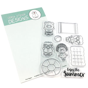 Pool Piggies 4x6 Clear Stamp Set - Clearstamps - Clear Stamps - Cardmaking- Ideas- papercrafting- handmade - cards-  Papercrafts - Gerda Steiner Designs