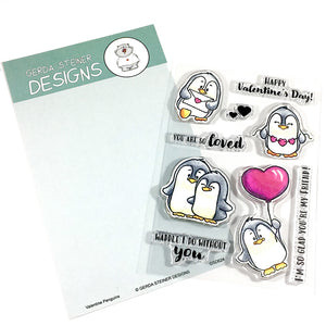 Valentine Penguins 4x6 Clear Stamp Set