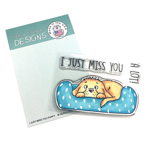 I Just Miss You Puppy 3x4 Clear Stamp Set - Clearstamps - Clear Stamps - Cardmaking- Ideas- papercrafting- handmade - cards-  Papercrafts - Gerda Steiner Designs