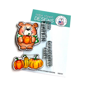 Pumpkin Bear 3x4 Clear Stamp Set - Clearstamps - Clear Stamps - Cardmaking- Ideas- papercrafting- handmade - cards-  Papercrafts - Gerda Steiner Designs