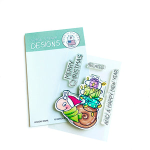 Holiday Snail 3x4 Clear Stamp Set - Clearstamps - Clear Stamps - Cardmaking- Ideas- papercrafting- handmade - cards-  Papercrafts - Gerda Steiner Designs
