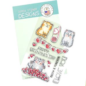 Valentine Cats 4x6 Clear Stamp Set - Clearstamps - Clear Stamps - Cardmaking- Ideas- papercrafting- handmade - cards-  Papercrafts - Gerda Steiner Designs