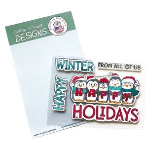 Happy Holiday Penguin 4x6 Clear Stamp Set