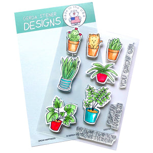 Grow Happiness 4x6 Clear Stamp Set