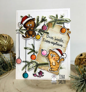 Christmas Kitten 4x6 Clear Stamp Set - Clearstamps - Clear Stamps - Cardmaking- Ideas- papercrafting- handmade - cards-  Papercrafts - Gerda Steiner Designs