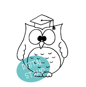 Graduation Owl - Digital Stamp - Clearstamps - Clear Stamps - Cardmaking- Ideas- papercrafting- handmade - cards-  Papercrafts - Gerda Steiner Designs
