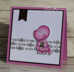 Coffeesaurus 3x4 Clear Stamp Set - Clearstamps - Clear Stamps - Cardmaking- Ideas- papercrafting- handmade - cards-  Papercrafts - Gerda Steiner Designs