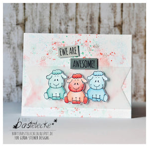How are Ewe? 4x6 Clear Stamp Set - Clearstamps - Clear Stamps - Cardmaking- Ideas- papercrafting- handmade - cards-  Papercrafts - Gerda Steiner Designs