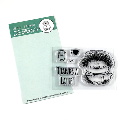 Hedgehog with Coffee 2x3 Clear Stamp Set