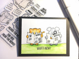 what's new? 4x6 Clear Stamp Set dog cat mouse gerda steiner designs gsd-stamps.com newspaper