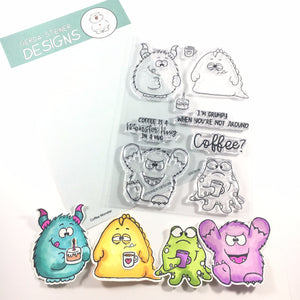Coffee Monster 4x6 Clear Stamp Set - Clearstamps - Clear Stamps - Cardmaking- Ideas- papercrafting- handmade - cards-  Papercrafts - Gerda Steiner Designs