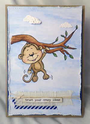 Monkey Hanging in There - Digital Stamp - Clearstamps - Clear Stamps - Cardmaking- Ideas- papercrafting- handmade - cards-  Papercrafts - Gerda Steiner Designs