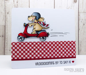 Dog on Scooter Vrooming by - Digital Stamp - Clearstamps - Clear Stamps - Cardmaking- Ideas- papercrafting- handmade - cards-  Papercrafts - Gerda Steiner Designs