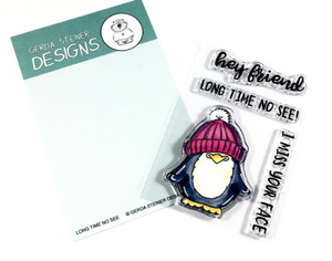 Long Time No See Penguin 3x4 Clear Stamp Set - Clearstamps - Clear Stamps - Cardmaking- Ideas- papercrafting- handmade - cards-  Papercrafts - Gerda Steiner Designs