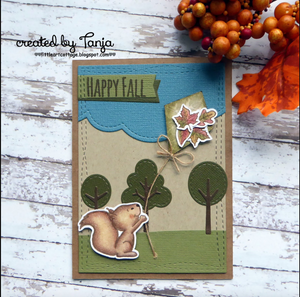 Happy Fall with Squirrel 4x6 Clear Stamp Set - Clearstamps - Clear Stamps - Cardmaking- Ideas- papercrafting- handmade - cards-  Papercrafts - Gerda Steiner Designs