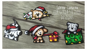 Christmas Puppies 4x6 Clear Stamp Set - Clearstamps - Clear Stamps - Cardmaking- Ideas- papercrafting- handmade - cards-  Papercrafts - Gerda Steiner Designs