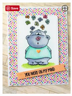 Hippo with Butterfly 3x4 Clear Stamp Set - Clearstamps - Clear Stamps - Cardmaking- Ideas- papercrafting- handmade - cards-  Papercrafts - Gerda Steiner Designs