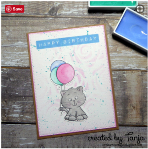 Cat With Balloon Digital Stamp