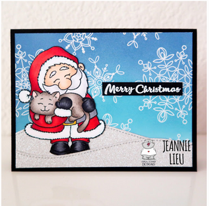Santa And A Kitten 3x4 Clear Stamp Set - Clearstamps - Clear Stamps - Cardmaking- Ideas- papercrafting- handmade - cards-  Papercrafts - Gerda Steiner Designs