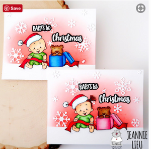 Baby Girl Christmas 3x4 Clear Stamp Set - Clearstamps - Clear Stamps - Cardmaking- Ideas- papercrafting- handmade - cards-  Papercrafts - Gerda Steiner Designs