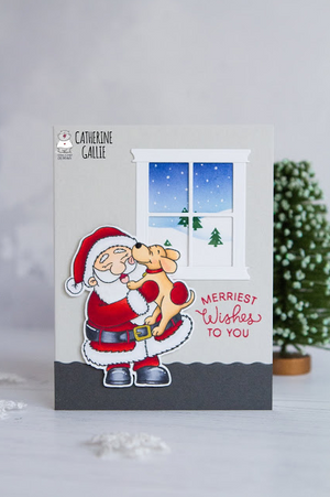 Puppy Kisses for Santa 3x4 Clear Stamp Set - Clearstamps - Clear Stamps - Cardmaking- Ideas- papercrafting- handmade - cards-  Papercrafts - Gerda Steiner Designs