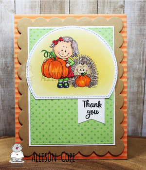 Girl holding Pumpkin - Digital Stamp - Clearstamps - Clear Stamps - Cardmaking- Ideas- papercrafting- handmade - cards-  Papercrafts - Gerda Steiner Designs