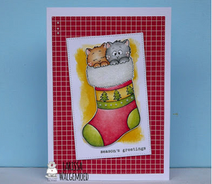 Two Kitten in the Stocking - Clearstamps - Clear Stamps - Cardmaking- Ideas- papercrafting- handmade - cards-  Papercrafts - Gerda Steiner Designs