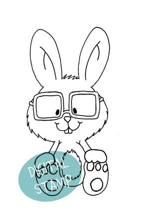 Bunny with Glasses - Digital Stamp - Clearstamps - Clear Stamps - Cardmaking- Ideas- papercrafting- handmade - cards-  Papercrafts - Gerda Steiner Designs