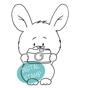 Bunny with Camera - Digital Stamp - Clearstamps - Clear Stamps - Cardmaking- Ideas- papercrafting- handmade - cards-  Papercrafts - Gerda Steiner Designs