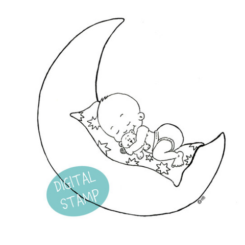 Digital Stamp of a Baby on the Moon - Hand drawn Illustration - Clearstamps - Papercrafts - Gerda Steiner Designs