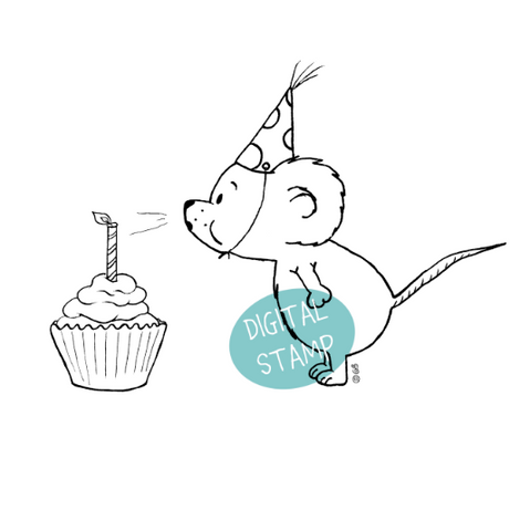 Make a wish - Cute mouse blowing Birthday Cake Candle - Digital Stamp - Clearstamps - Papercrafts - Gerda Steiner Designs