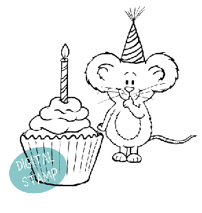 Extra Sweet Birthday Cupcake - Digital Stamp - Clearstamps - Papercrafts - Gerda Steiner Designs