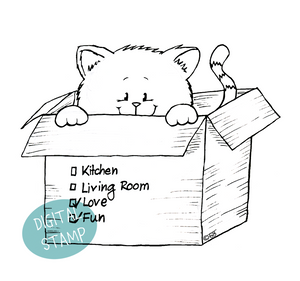 Kitten in Moving Box - Digital Stamp - Clearstamps - Clear Stamps - Cardmaking- Ideas- papercrafting- handmade - cards-  Papercrafts - Gerda Steiner Designs
