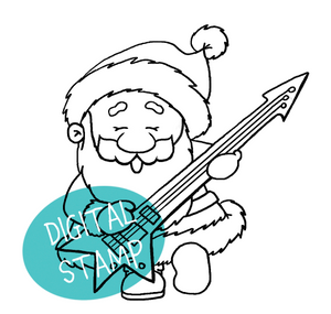 Santa playing Guitar - Digital Stamp - Clearstamps - Clear Stamps - Cardmaking- Ideas- papercrafting- handmade - cards-  Papercrafts - Gerda Steiner Designs