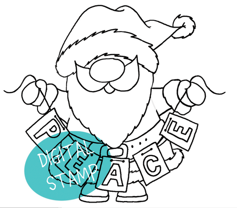 Santa Peace Digital Stamp - Clearstamps - Papercrafts - Gerda Steiner Designs