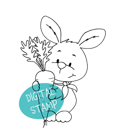 Carrot Bunny Digital Stamp - Clearstamps - Papercrafts - Gerda Steiner Designs