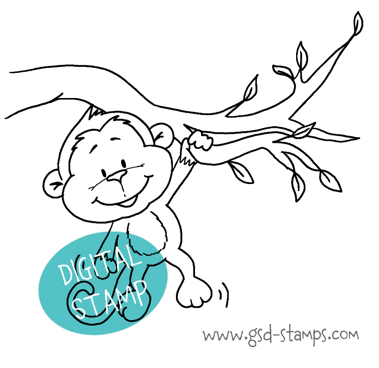 Hang in there Monkey - Digital Stamp - Clearstamps - Papercrafts - Gerda Steiner Designs