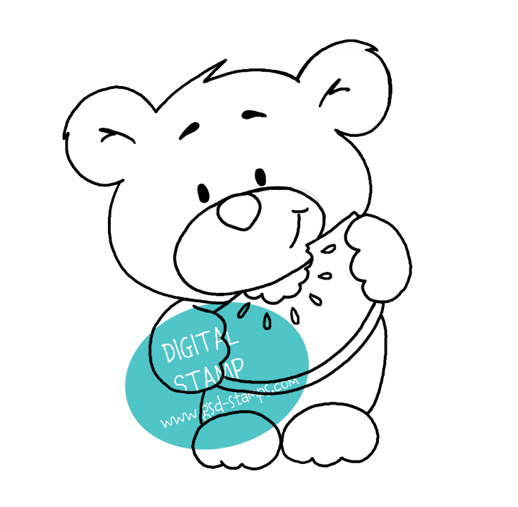 You are Beary Sweet! - Bear with Watermelon - Digital Stamp