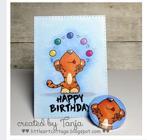Juggling Tiger - Digital Stamp - Clearstamps - Clear Stamps - Cardmaking- Ideas- papercrafting- handmade - cards-  Papercrafts - Gerda Steiner Designs