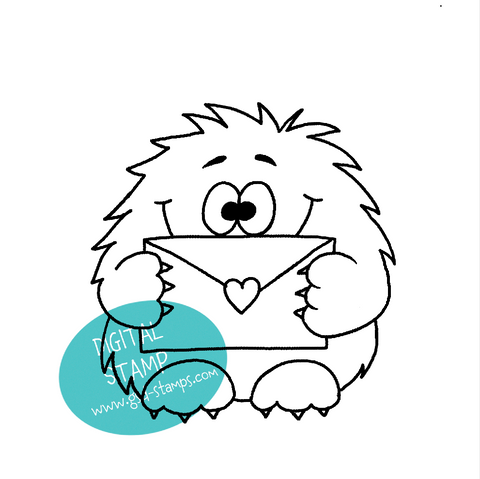 Monster Holding Letter - Digital Stamp
