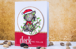 All tangled up - Cat with Holiday Lights - Digital Stamp - Clearstamps - Clear Stamps - Cardmaking- Ideas- papercrafting- handmade - cards-  Papercrafts - Gerda Steiner Designs