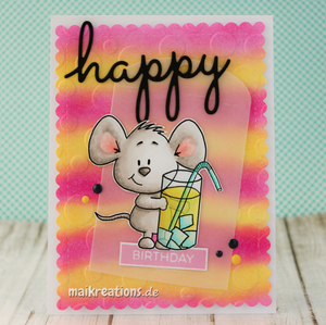 Mouse with Drink - Digital Stamp - Clearstamps - Clear Stamps - Cardmaking- Ideas- papercrafting- handmade - cards-  Papercrafts - Gerda Steiner Designs