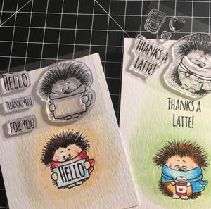 Hedgehog with Sign 2x3 Clear Stamp Set - Clearstamps - Clear Stamps - Cardmaking- Ideas- papercrafting- handmade - cards-  Papercrafts - Gerda Steiner Designs
