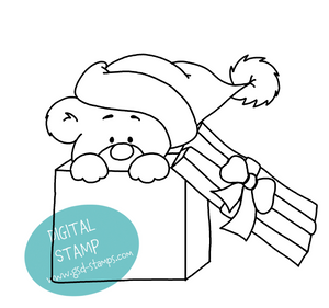 Bear in Box - Digital Stamp - Clearstamps - Clear Stamps - Cardmaking- Ideas- papercrafting- handmade - cards-  Papercrafts - Gerda Steiner Designs