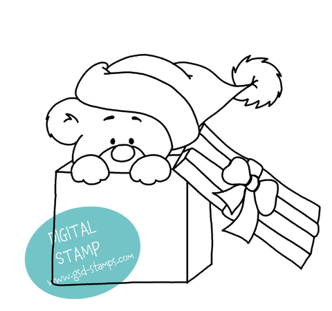 Bear in Box - Digital Stamp