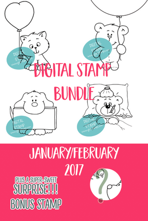 January/February Digital Stamp Bundle - Clearstamps - Clear Stamps - Cardmaking- Ideas- papercrafting- handmade - cards-  Papercrafts - Gerda Steiner Designs